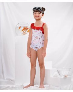 Little Whimsea Anak Indonesia Swimsuit One Piece Red and White