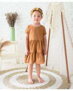 Takoyakids Eiko Layered Dress Camel Brown