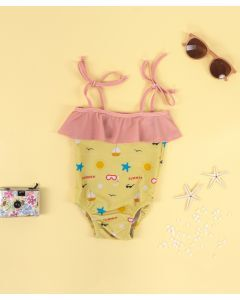 Little Whimsea Good Vibes Swimsuit One Piece Yellow
