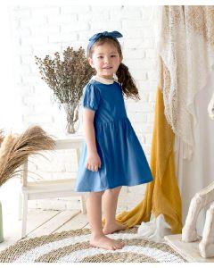 Takoyakids Maia Collared Dress Steel Blue